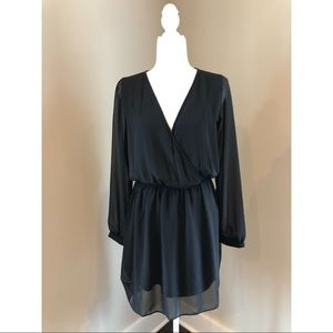 Express Black Dress with Sheer Long Sleeves